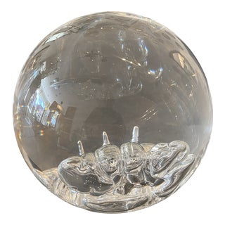 Sphere Shaped Fractured Lucite Sculpture For Sale