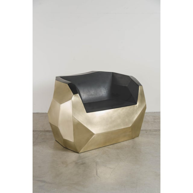 Hand Repousse Facet Lounge Chair in Brass W/ Black Lacquer by Robert Kuo, Limited Edition For Sale - Image 9 of 9