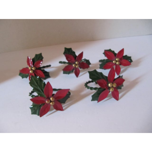 Traditional Christmas Holly Berry Napkin Rings-4 Pieces For Sale - Image 3 of 4