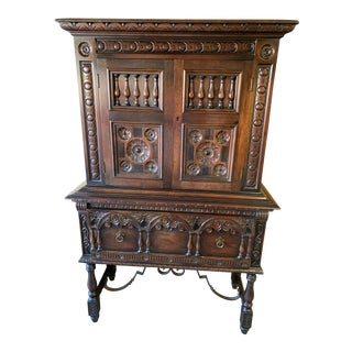1920s Jacobean Kittinger China Cabinet For Sale