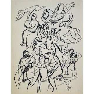 Jennings Tofel Monochromatic Figurative Line Drawing in Ink on Paper, Early 20th Century Early 20th Century For Sale
