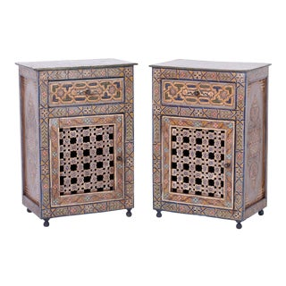 Moroccan Painted Cabinets - A Pair For Sale