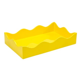 Rita Konig Collection Medium Belles Rives Tray in Citron Yellow For Sale