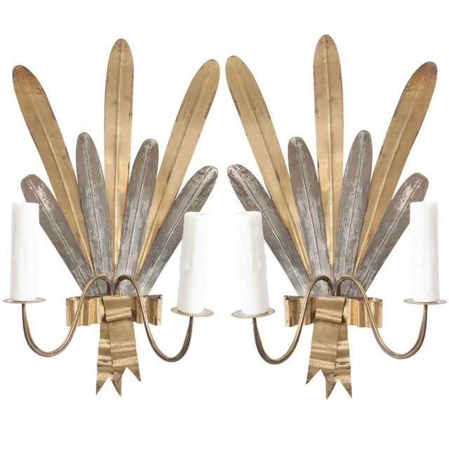 "French Vintage Gilt and Silvered Metal ""Cattail-Leaf"" Sconces - a Pair For Sale - Image 11 of 11"