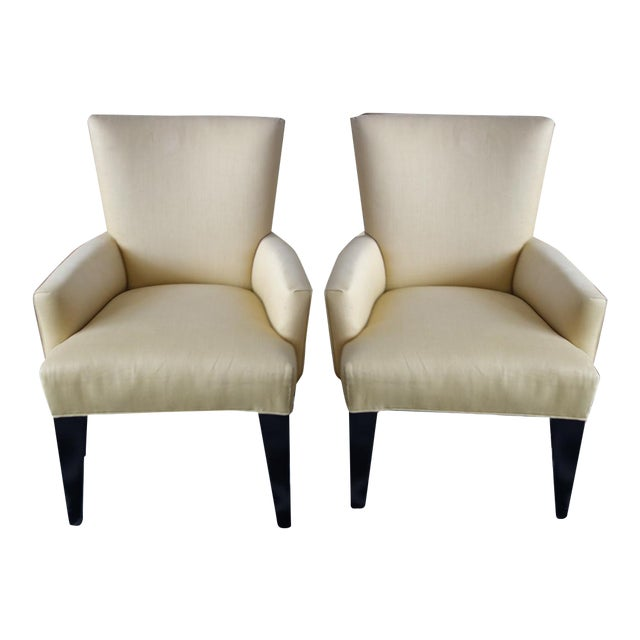 Contemporary Chartreuse Linen Armchairs - A Pair For Sale