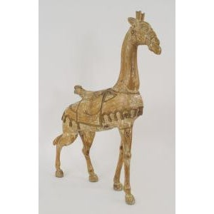 Early 20th Century 20th Century American carousel style stripped pine large giraffe figure with gold trim and wearing a saddle For Sale - Image 5 of 5