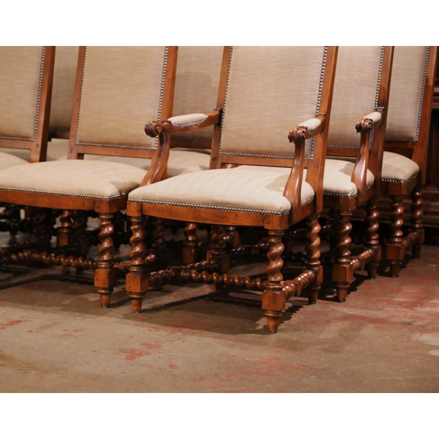 Baroque Suite of Twelve Carved Walnut Chairs From Ralph Lauren With Chenille and Leather For Sale - Image 3 of 13