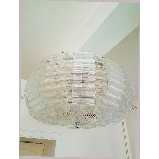 Silver Pair of Large Clear Murano Glass Chandeliers by Barovier & Toso, 1970s For Sale - Image 8 of 9