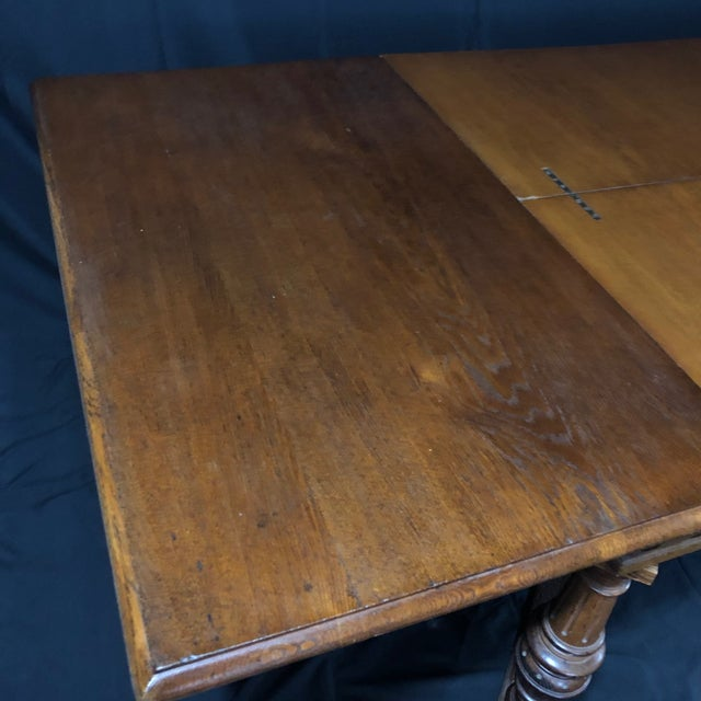 Carved Oak Arts and Crafts Art Deco French Expandable Dining Table For Sale - Image 10 of 13