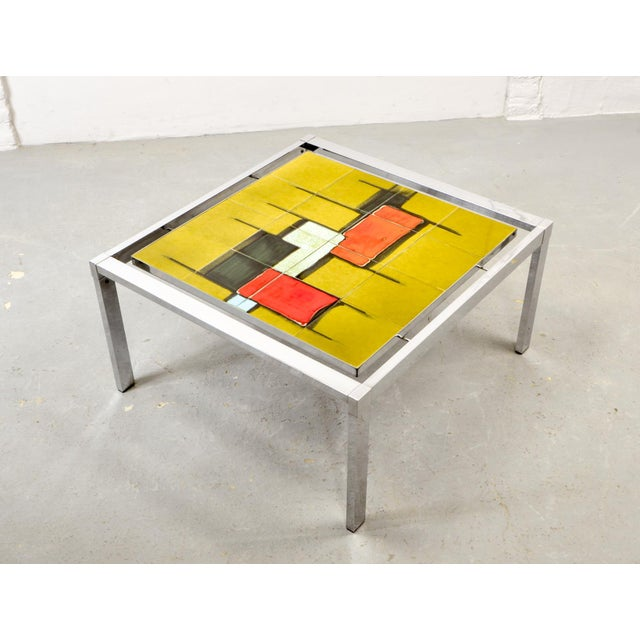 Mid-Century Abstract Design Ceramic Side Table With Chrome Frame, 1970s For Sale - Image 9 of 11