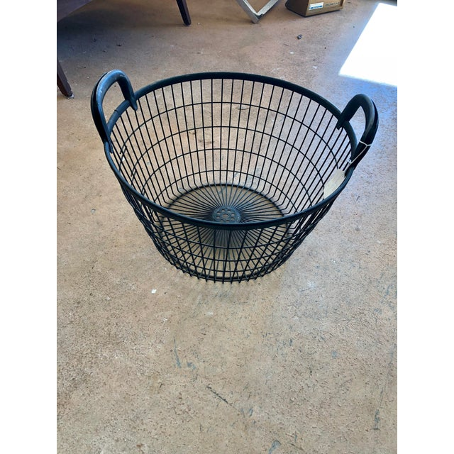 Vintage Mid Century Italian Black Metal Orchard Basket For Sale In Charleston - Image 6 of 6