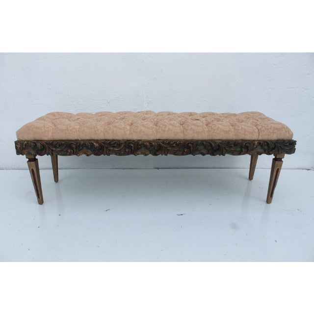 Dorothy Draper French-style gilt-carved wood bench. Ideal for vintage Hollywood Regency or French Provincial spaces. This...