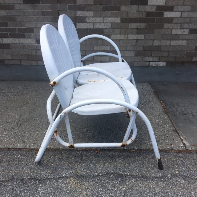 1950s Vintage 1950's Bellaire Outdoor Metal Double Glider For Sale - Image 5 of 7