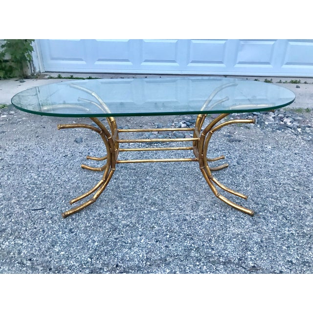 1960s Hollywood Regency Gilt Faux Bamboo Glass Top Coffee Table For Sale - Image 11 of 13