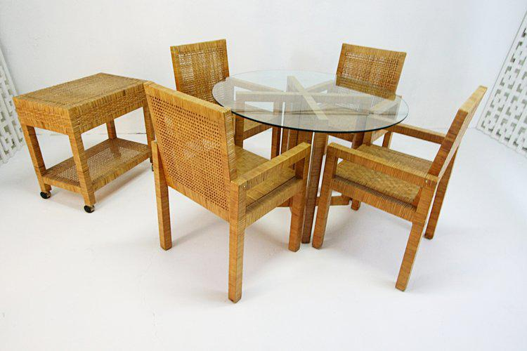 Billy Baldwin Style Wrapped Rattan Armchairs   Set Of 4 For Sale   Image 5  Of