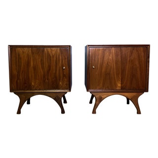 1960s American Modern Walnut and Brass Nightstands For Sale