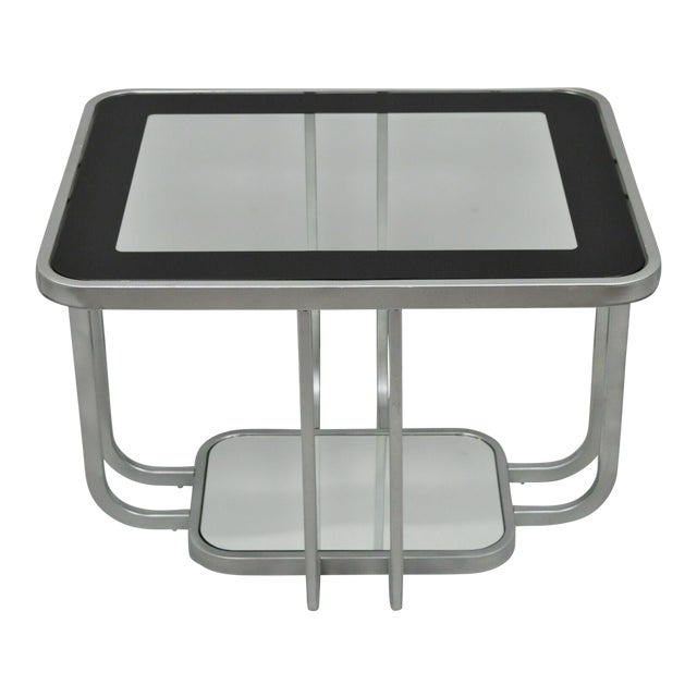 20th Century Art Deco Style 2 Tiered Metal & Glass Side End Table For Sale