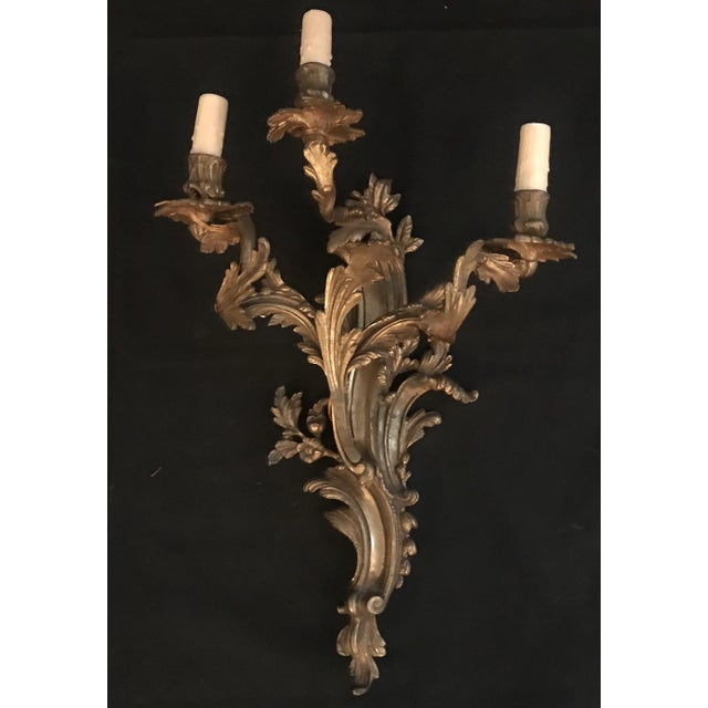 French Louis XV Gold Gilt Bronze Sconces -A Pair For Sale - Image 4 of 7