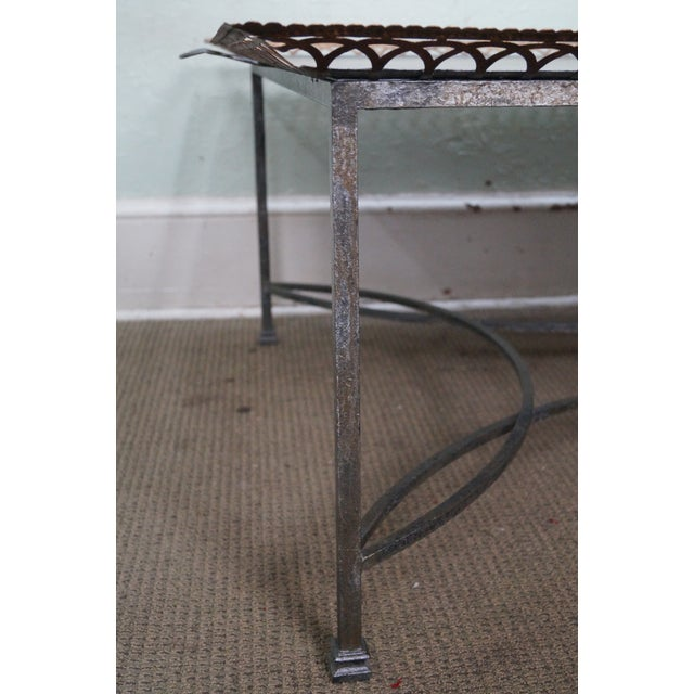 Gray Niermann Weeks Large Regency Silver Leaf Tray Top Steel Frame Coffee Table For Sale - Image 8 of 10