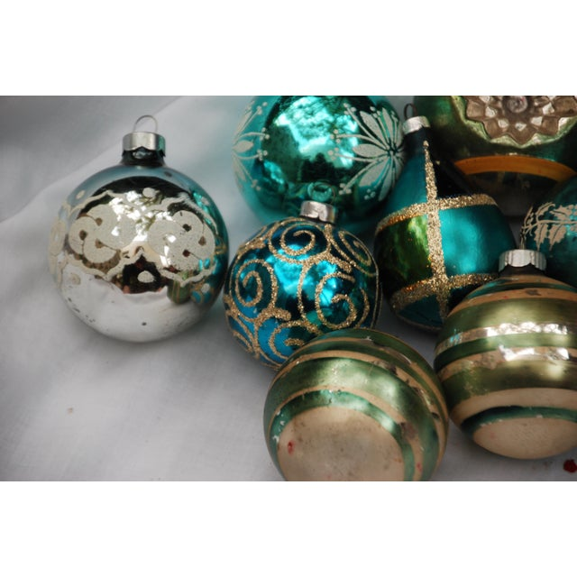 Vintage Blue and Green Glass Ornaments - Set of 11 - Image 2 of 10