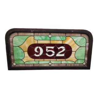 Large Scale 19th Century Stained Glass Victorian House Number Window Panel C.1880 For Sale