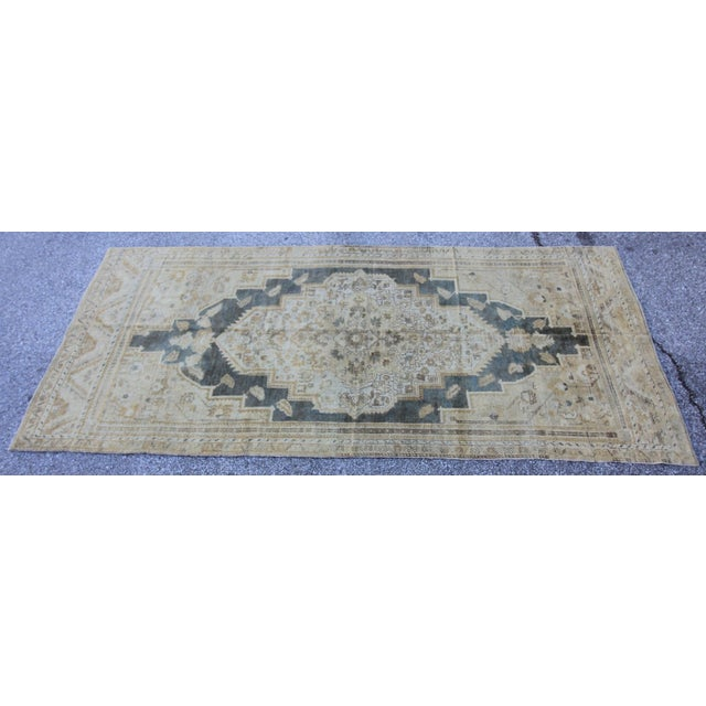 "Islamic Antique Turkish Oushak Rug - 4'10"" X 10'5"" For Sale - Image 3 of 5"