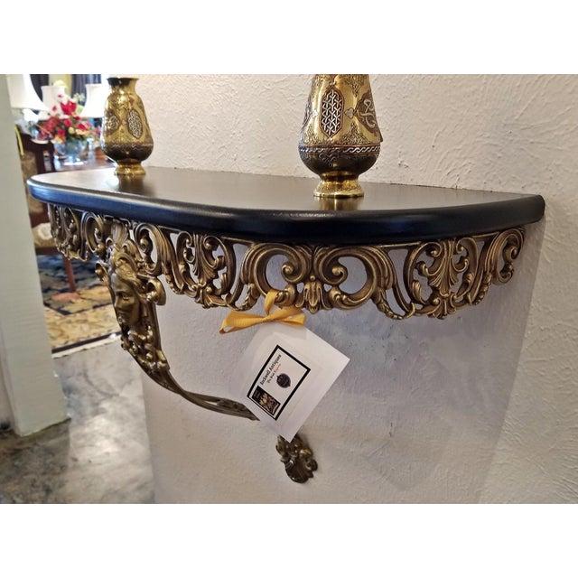 Brass Early 20c French Art Nouveau Style Brass Wall Bracket Shelf For Sale - Image 7 of 12