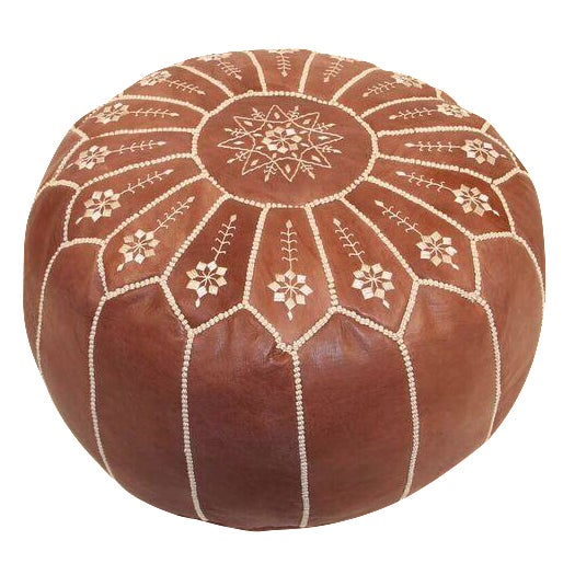 Moroccan Leather Pouf in Chestnut Starburst (Stuffed) - Image 1 of 4