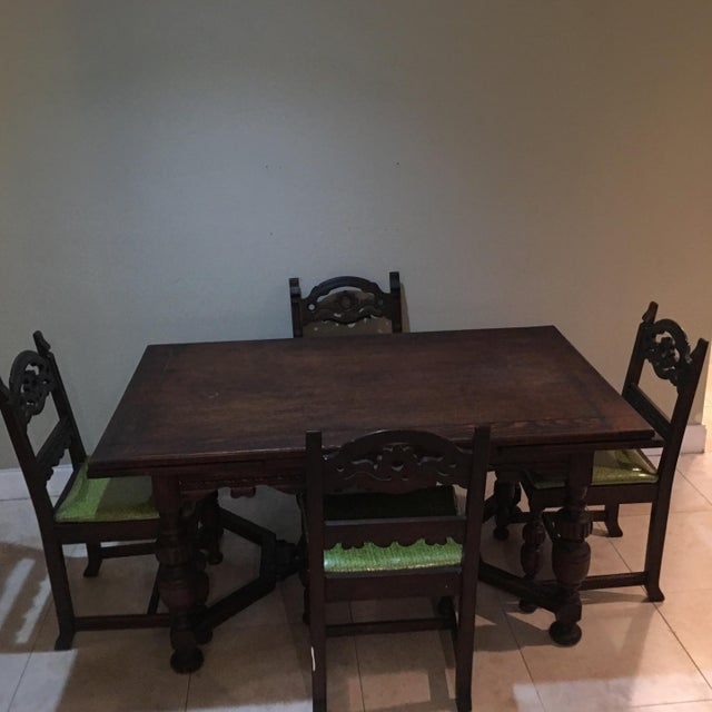 Vintage Holiday Green North Carolina Chair Company Dining Set - Image 4 of 11