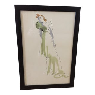 Hand Colored Fashion Drawing of Green Gown For Sale