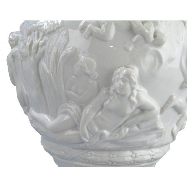 White White Capodimonte Italian Porcelain Urn For Sale - Image 8 of 10