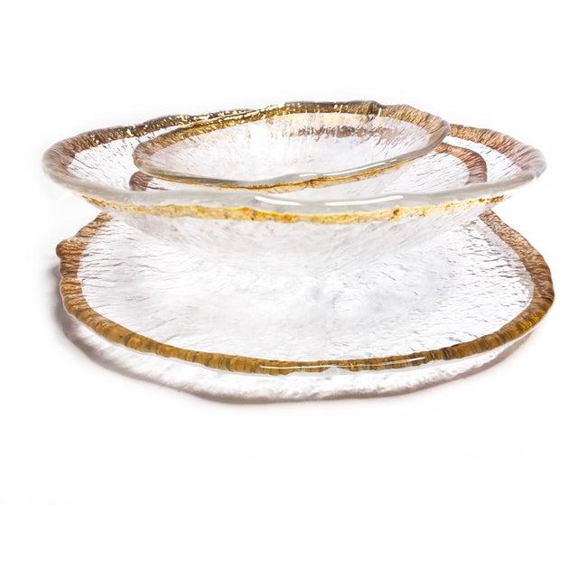Vintage 1950's Ivv Glacier Ice Art Glass Plates - Set of 4 For Sale - Image 4 of 6
