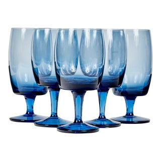 1960s Periwinkle Blue Glass Stems, Set of 5 For Sale