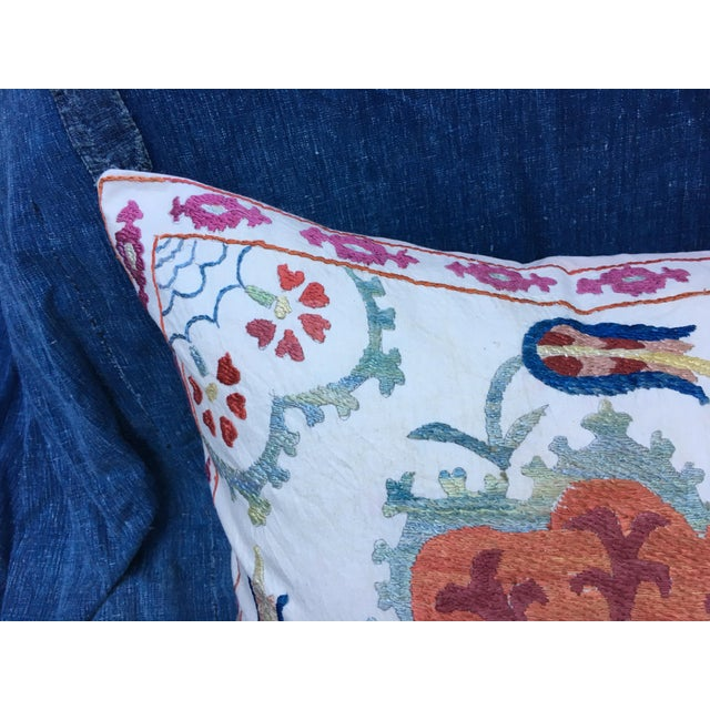 Boho Chic Embroidered Suzani Pillow Cover For Sale - Image 3 of 6