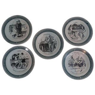 French Sporting Humorous Faience Plates, Set of 5 For Sale