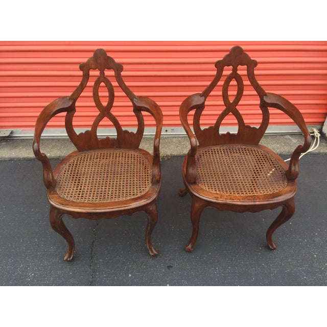 Late 19th Century Antique Italian Renaissance Revival Arm Chairs a Pair For Sale - Image 5 of 13