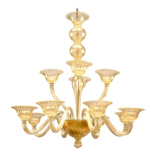 """Italian Murano """"Sommerso"""" Gold Dusted Twelve-Arm Chandeliers For Sale"""