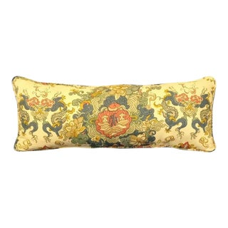 Vintage Linen Floral Chinoiserie Custom Made Lumbar Pillow Quing Dynasty Imperial Dragon Style For Sale