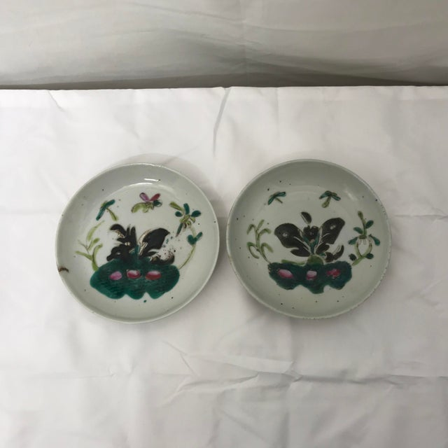 Dark Green Antique Famille Rose Dishes- A Pair For Sale - Image 8 of 8