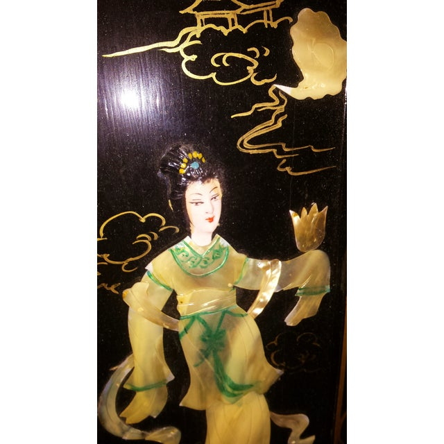 Chinese Courtesan Table Screen Black Lacquer - Image 6 of 9