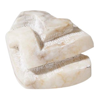 1970s Abstract Hand Carved White Marble Sculpture For Sale
