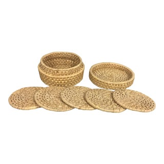 Vintage Woven Straw Coasters With Case - Set of 5