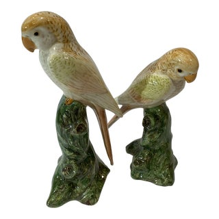1970s Yellow Tone Parrot Bird Figurines - a Pair For Sale