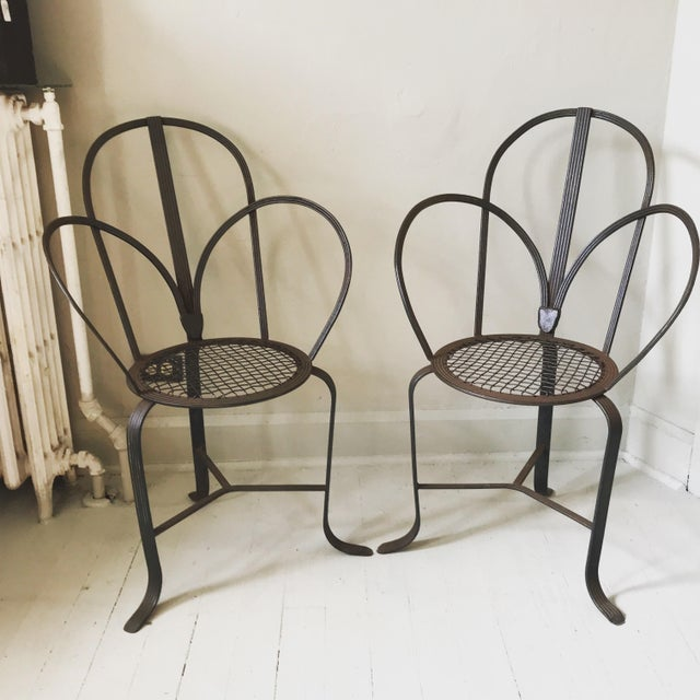 Crate & Barrel Iron Chairs - A Pair - Image 7 of 7