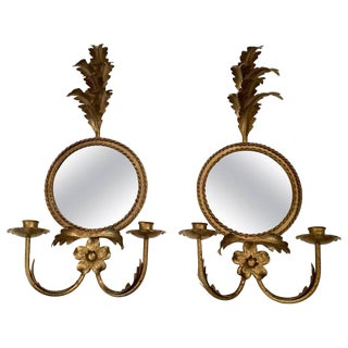 Italian Gilt Iron & Tole Sconces With Round Mirrors - A Pair