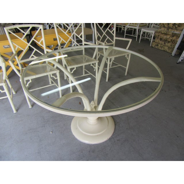 1970s Chippendale Meadowcraft Aluminum Patio Set - 5 Pieces For Sale - Image 5 of 9