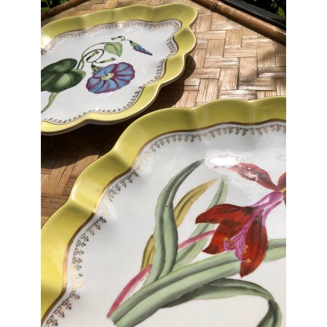 Ceramic Large Vintage Chelsea House Scalloped Porcelain Botanical Floral Plates- a Pair For Sale - Image 7 of 12