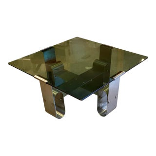 Francois Monnet Cocktail or Side Table With Smoked Glass, 1970 For Sale