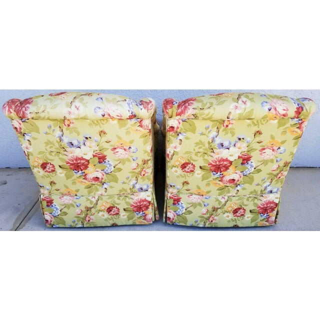 1990s Century Furniture Company Floral Tropical Upholstered Skirted Club Chairs - a Pair For Sale - Image 5 of 8
