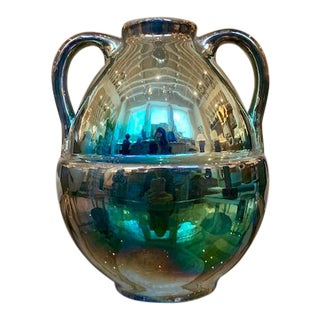 French Art Deco Iridescent Vase With Handles For Sale